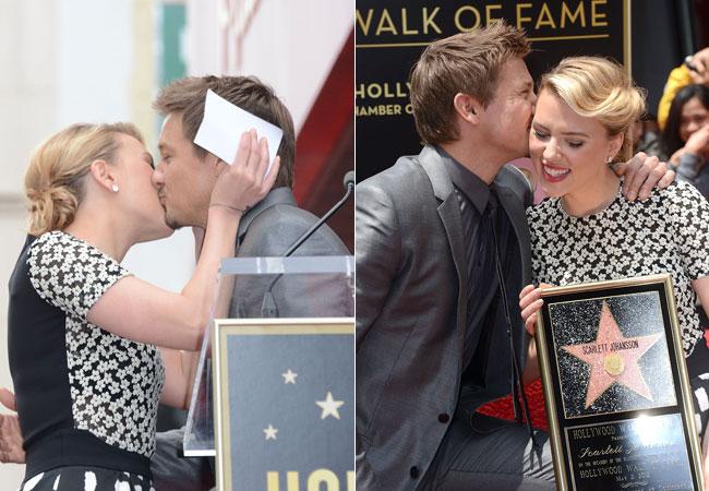 Scarlett Johansson recebeu os cumprimentos do colega de elenco Jeremy Renner (Foto: Getty Images)