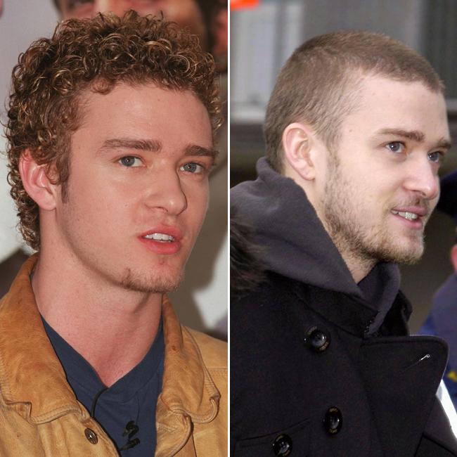À esquerda, Justin Timberlake na época do N'Sync; à direita com a cabeça raspada, já em carreira solo (Foto: Getty Images)