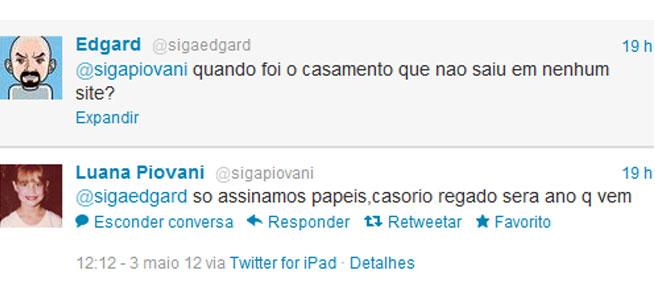 Luana Piovani contou a novidade no Twitter (Foto: Reprodução)