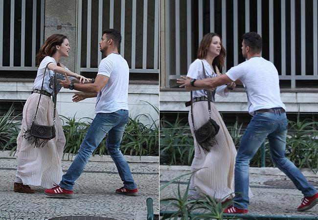 Nathália Dill e Cauã Reymond gravam cenas de