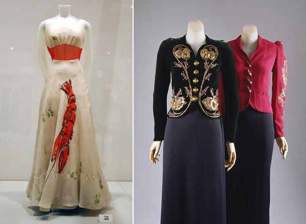 Peças bordadas de Schiaparelli e o icônico vestido lagosta   (Foto: Reprodução)