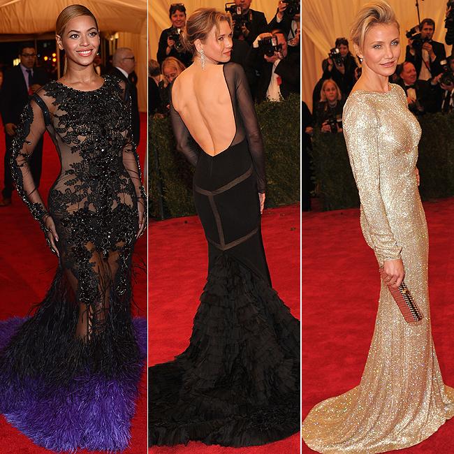 Beyoncé (à esq.), Renée Zellweger (centro) e Cameron Diaz (à dir.) (Foto: Getty Images)