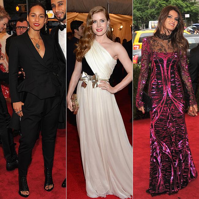 Alicia Keys (à esq.), Amy Adams (centro) e Isabeli Fontana (à dir.) (Foto: Getty Images)