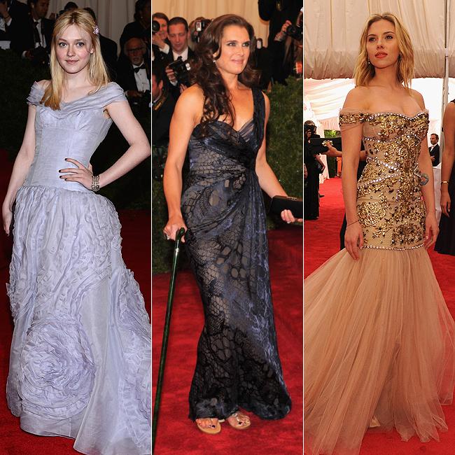 Dakotta Fanning (à esq.), Brooke Shields (centro) e Scarlett Johansson (à dir.) (Foto: Getty Images)
