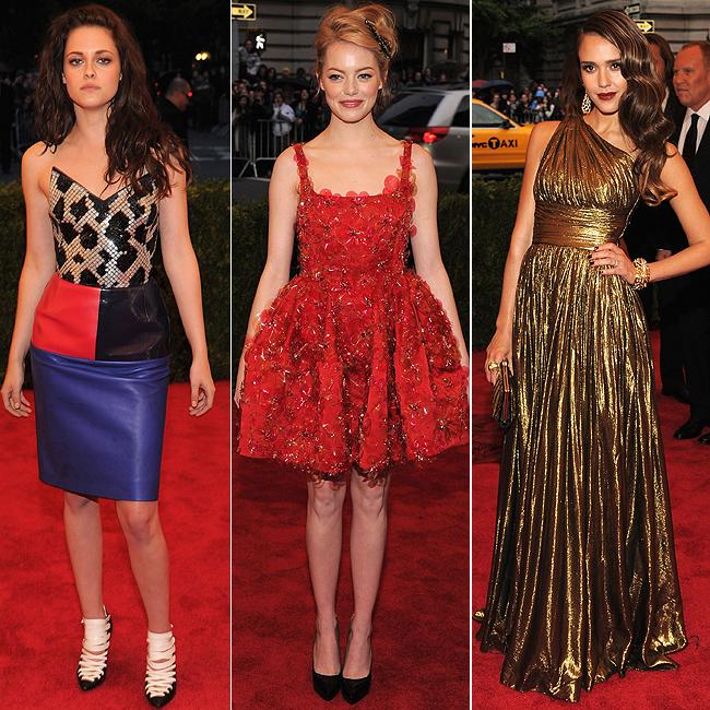 Kristen Stewart (à esq.), Emma Stone (centro) e Jessica Alba (à dir.) (Foto: Getty Images)