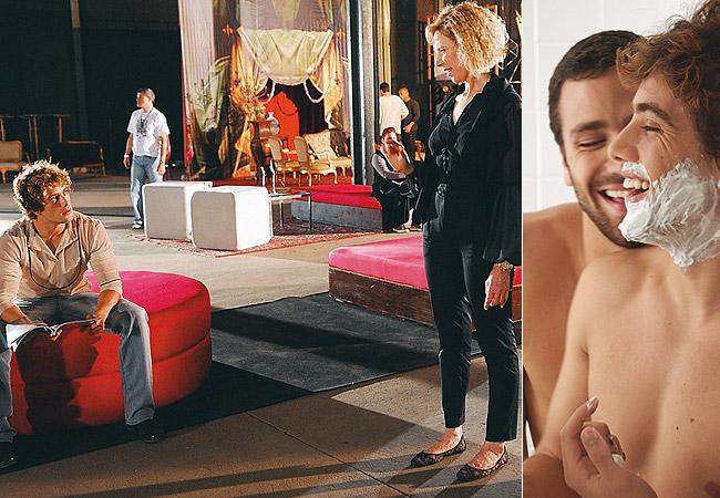 Rafael em cena: com Marília Gabriela, em Cinquentinha (à esq.), e no filme Do Começo ao Fim (à dir.)  (Foto: Jorge Bispo)