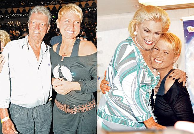 (à esq.) Com o pai, Luís Floriano Meneghel (à dir.) Xuxa recebe o carinho de Hebe, que interpreta sua sogra no filme (Foto: Leo Lemos)