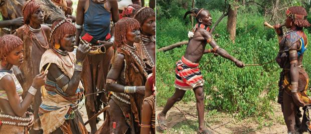 SEM MEDO O ritual de iniciação masculina começa com as mulheres. Uma corneta de som metálico (à esquerda) aumenta o delírio da festa. As danças e os cantos levam as mais corajosas a receber chicotadas (à direita) (Foto: Haroldo Castro/ÉPOCA)