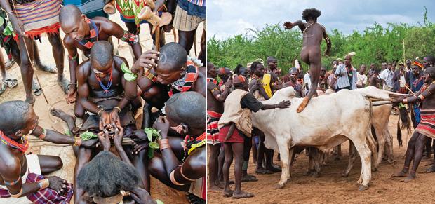 PULO DOS TOUROS O jovem iniciado passa por um renascimento simbólico (à esquerda), rodeado por companheiros. Ele ganha coragem para a prova final: pular seis touros emparelhados (à direita) (Foto: Haroldo Castro/ÉPOCA)
