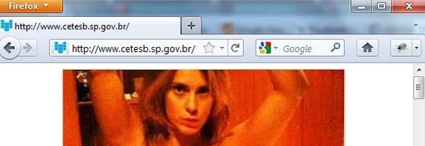 Página da Cetesb invadida por hackers (Foto: Reprodução)