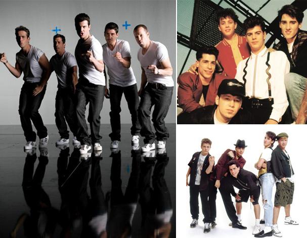 New Kids on the Block versão atual e os rapazes da banda na época de maior sucesso, década de 80 (Foto: Reprodução)