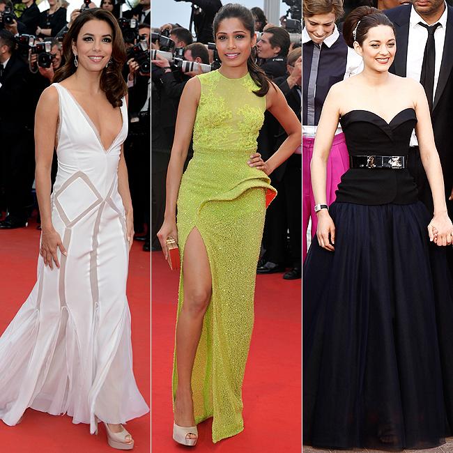 Eva Longoria, de Emilio Pucci, Freida Pinto, de Versace, ou Marion Cottillard, de Christian Dior? Qual você prefere? (Foto: Getty Images)