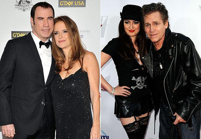John Travolta e Kelly Preston (à esquerda) e Vikki Lizzi e Jeff Conaway (à direita) (Foto: Getty Images)