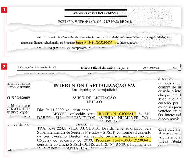 VENDA SUSPEITA Portaria da Susep  (no alto) determina investigação do leilão do Hotel Nacional, anunciado em edital em 2009 (acima).   A Polícia Federal procura respostas  (Foto: reprodução)
