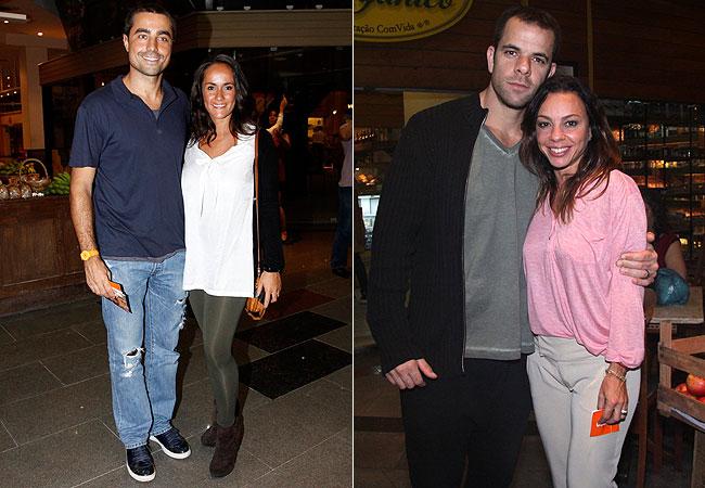 Ricardo Pereira e a mulher, Francisca Pinto (à esquerda) e Hugo Baltazar e Carla Marins (à direita) (Foto: Alex Palarea e Felipe Assumpção/AgNews)