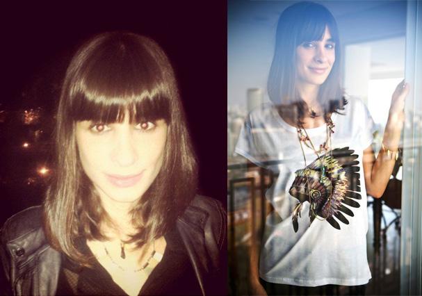 Camila Fremder, colunista da revista Glamour e do blog Parece Filme, Mas é Vida Mesmo, entrevistando a si mesma. Ela usa franja em U (laterais mais compridas) (Foto: Arquivo Pessoal)