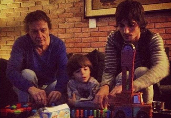 Fábio Jr., Fiuk e o pequeno Záion (Foto: Reprodução)