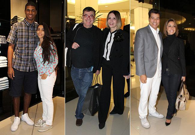 Filha de Regina Casé, Beneditta, acompanhada (à esquerda), Wlacyr Carrasco e Liège Albuquerque (centro) e Maurício Mattar e a noiva, Keiry Costa (à direita ) (Foto: Roberto Filho/AgNews)