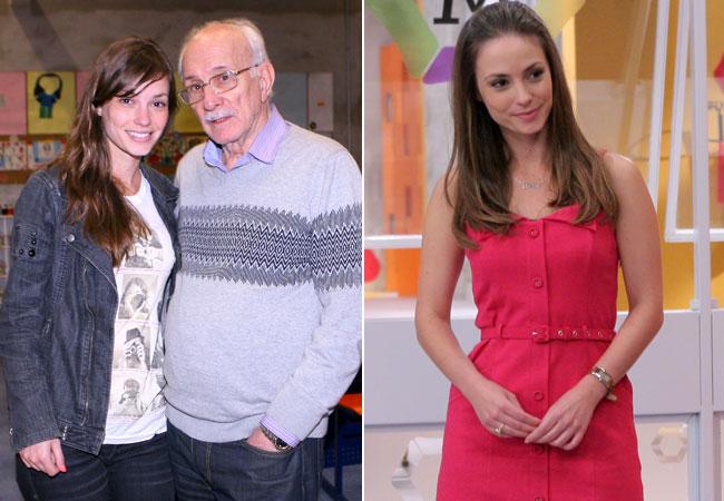 Rosanne Mulholland, sem caracterização, ao lado do diretor Reinaldo Boury; atriz vestida como Helena (Foto: Divulgação/SBT)