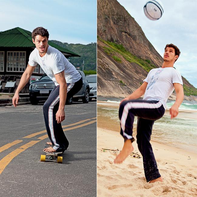 Futebol é uma das paixões de Loreto, que venceu a Copa do Mundo de Futebol de Artistas na Rússia, em 2008, O ator também surfa, anda de skate e usa as atividades esportivas para ajudar a controlar o diabetes (Foto: Tomas Rangel/Ed.Globo)