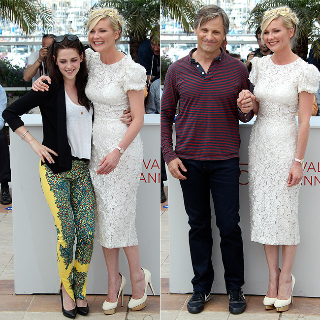 Kirsten Dunst ao lado de Kristen Stewart (à esquerda) e ao lado de Viggo Mortensen (à direita) (Foto: AP)