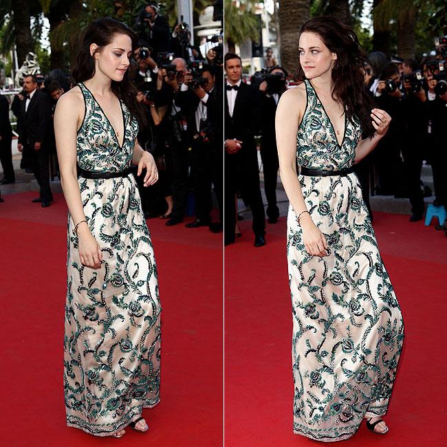 Kristen Stewart usou um vestido estampado (Foto: Getty Images)
