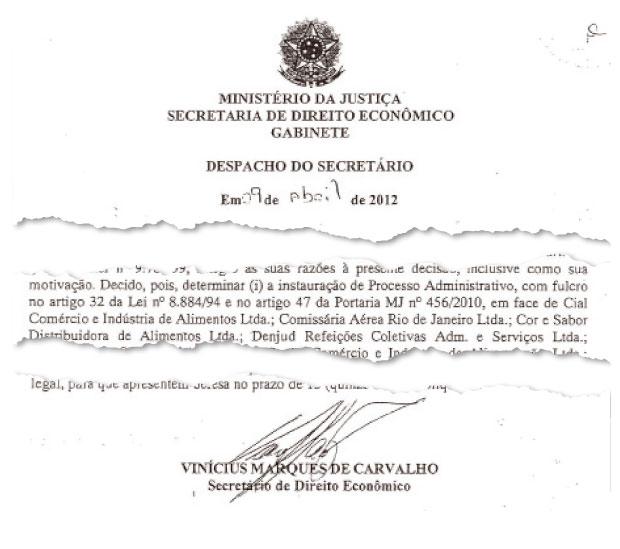 INVESTIGADA Trecho de documento da Secretaria de Direito Econômico.  A Cial é investigada por  suspeita de formação de cartel  no Estado do Rio  de Janeiro  (Foto: reprodução)