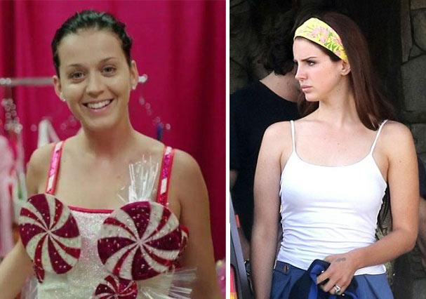 Katy Perry e Lana Del Rey sem maquiagem (Foto: Reprodução)
