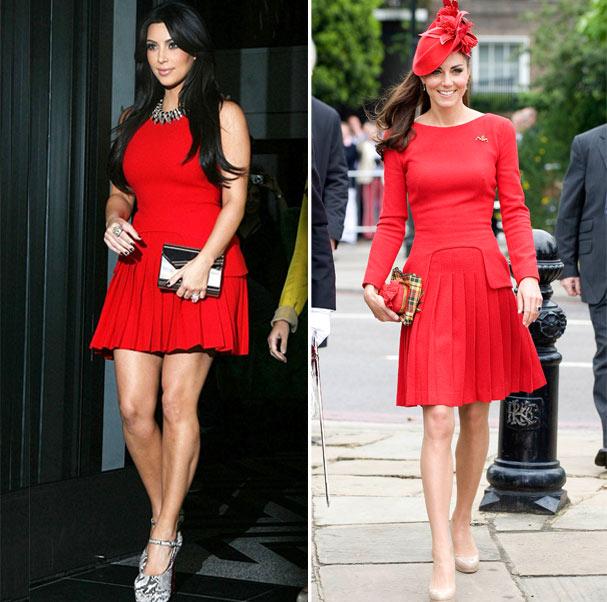 Kim Kardashian e Kate Middleton: dois estilos o mesmo look (Foto: Reprodução/Getty Images)