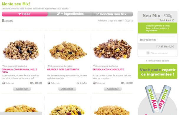 Etapa do passo a passo de montagem do cereal customizado da My Mix (Foto: Reprodução)