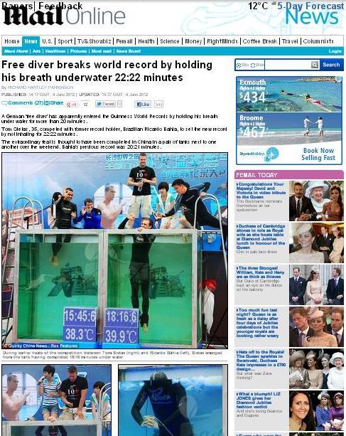 Mergulhador (Foto: Reprodução/Daily Mail)