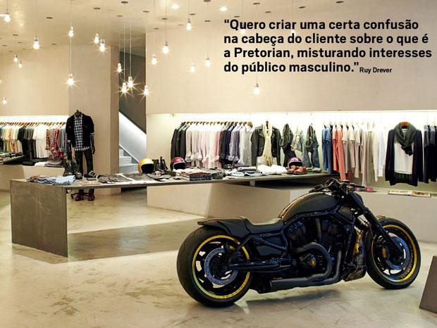 A loja da Pretorian na Oscar Freire vende de luvas de boxe a jeans e motos. Drever quer construir uma marca de luxo focada no universo masculino  (Foto: Divulgação)