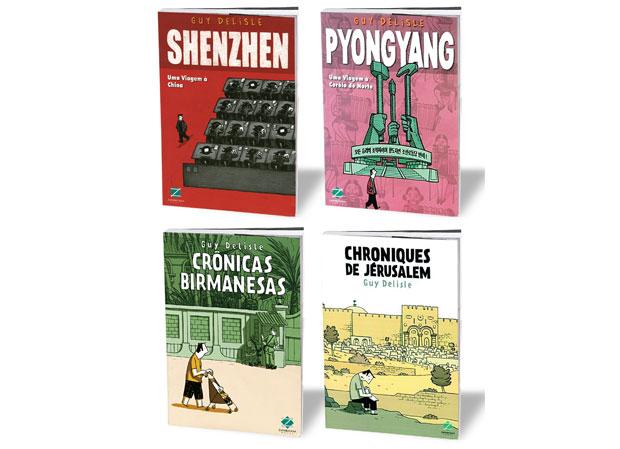 Shenzhen não fez tanto barulho, mas Pyongyang e as Crônicas tornaram Delisle conhecido no mercado. Todos os livros foram lançados no Brasil, com exceção de Jerusalém, previsto para o segundo semestre (Foto: Divulgação)