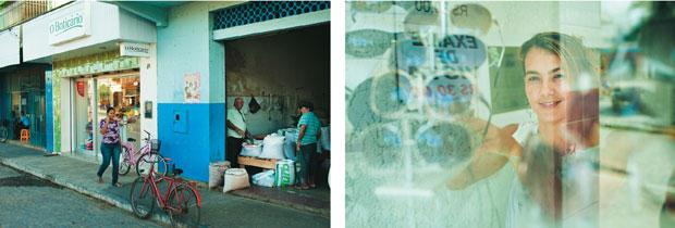 Ao lado de lojas sem nome, típicas do interior, já se enxergam grifes como O Boticário. Até gente da capital tem aberto negócios lá – como Adriana Montenegro,  que vende óculos com prestação  sob medida (Foto: Claus Lehmann)