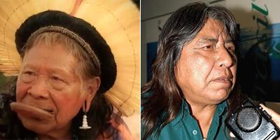 Raoni Metuktire (à esq.) e Megaron Txucarramae. Os dois líderes indígenas respondem às perguntas dos leitores de ÉPOCA (Foto: Reprodução/CI e Lindomar Cruz/ABr))