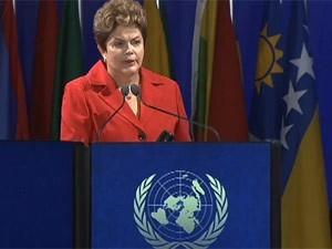 A presidente Dilma Rousseff discursa na Rio+20 (Foto: Reprodução/GloboNews)