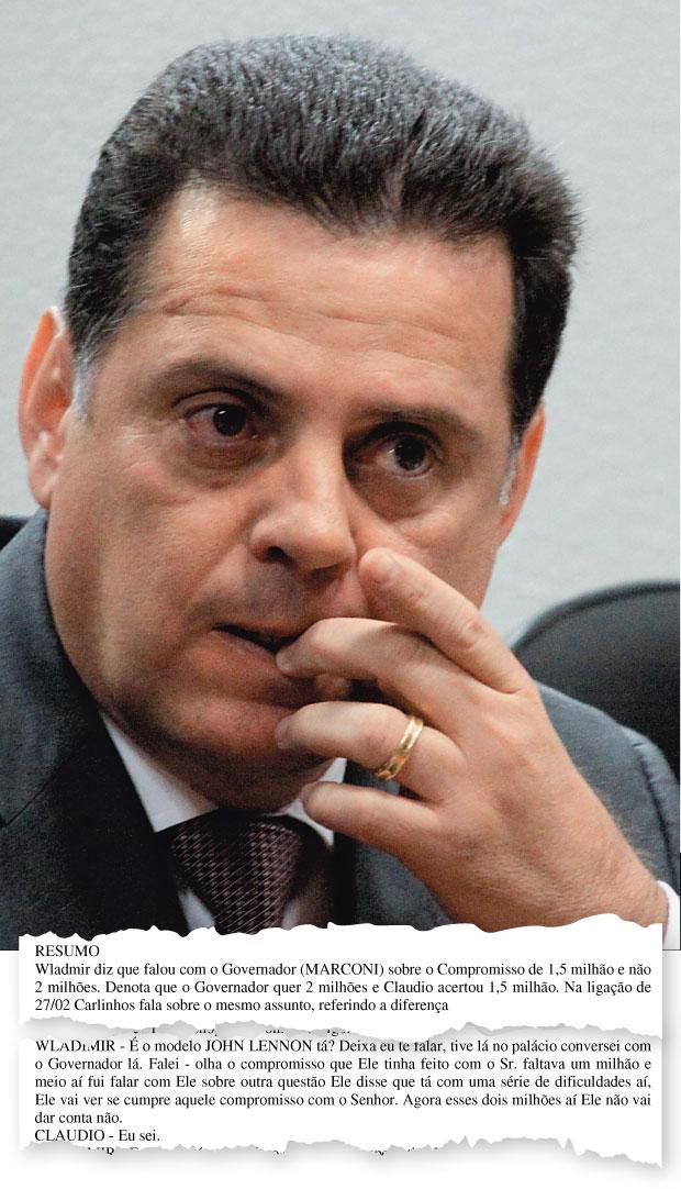 LUCRO O governador  de Goiás, Marconi Perillo. Ele vendeu uma casa ao bicheiro Carlinhos Cachoeira com um ágio  de R$ 500 mil –  em troca, liberou faturas da Delta  (Foto: Andre Borges/Folhapress)