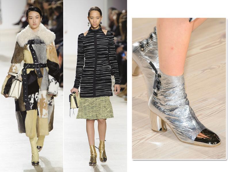Proenza Schouler também recorreu às botinhas metalizadas. Mas preferiu dar um toque moderno às peças: biqueira espelhada!