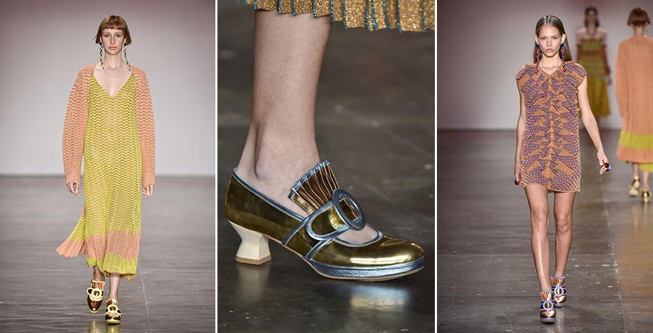 Os sapatos da GIG: sempre bicolores e metalizados, os modelos que tinha cara de vitorianos foram um complemento vintage e cool perfeitos para as peças de tricô da marca