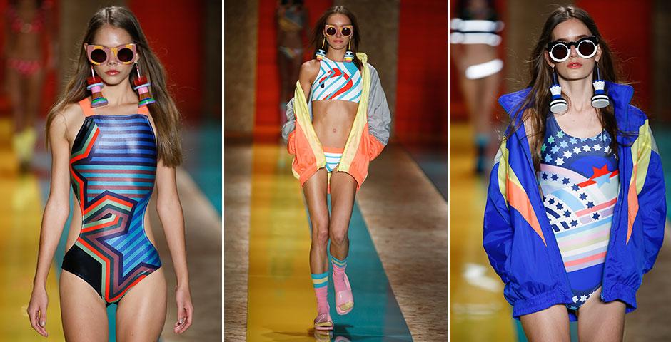 Os gatinhos da Salinas: a cara da moda praia alegre da marca, os óculos bicolores prometem colorir as areias cariocas no verão. Os modelos foram criados em parceria com a marca Z R Z S