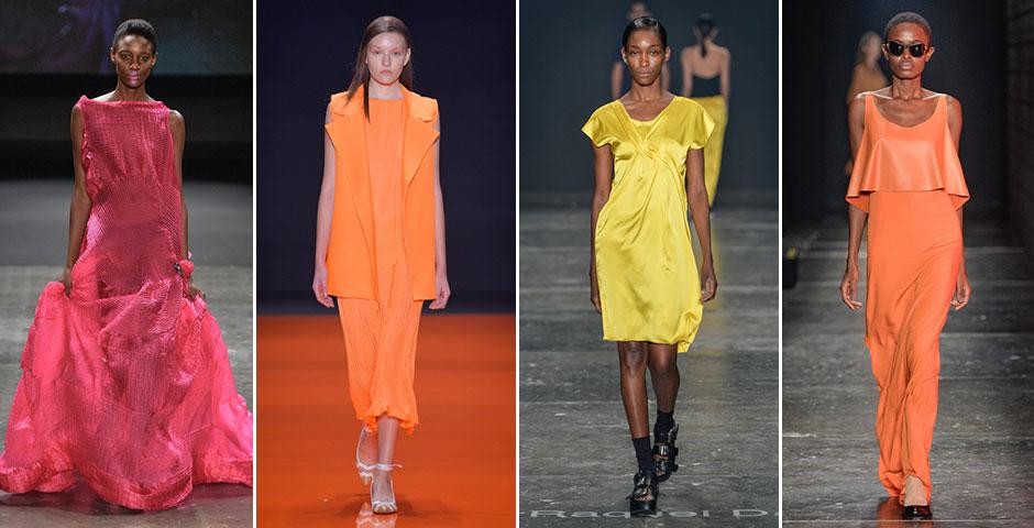 Cores vibrantes: o monocromático em tons fortes deve aparecer principalmente nos vestidos. (Desfiles: Lino Villaventura, Lolitta, UMA, Ratier)