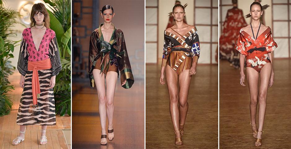 Quimono: a Ásia está na moda e, por isso, vai levar a peça clássica do oriente às areias, ora como maiô sofisticado, ora como saída de praia. (Desfiles: Vix, Adriana Degreas, Lenny Niemeyer)
