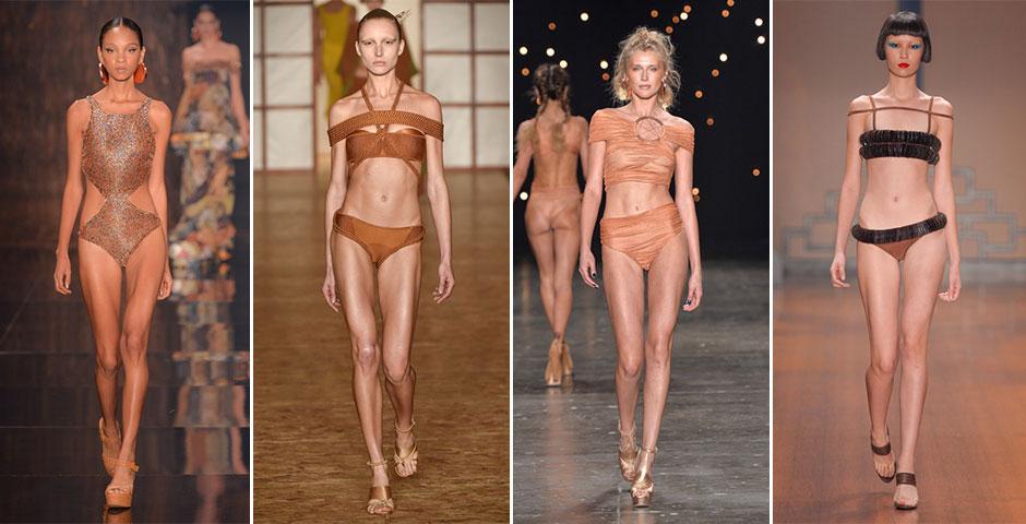 Tons terrosos: assim como nas roupas do dia a dia, o marrom e suas nuances devem pincelar também as peças de beachwear para um efeito solar exuberante. (Desfiles: Água de Coco, Lenny Niemeyer, Triya, Adriana Degreas)