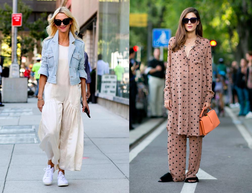 Os looks podem ser literais (como na foto da direita) ou disfarçados. Para tirar a cara de roupa de dormir basta misturar com peças de sair como jaqueta jeans e tênis